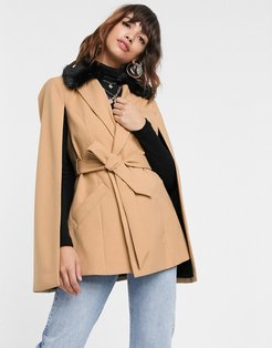 cape jacket with contrast faux fur collar in camel-Tan