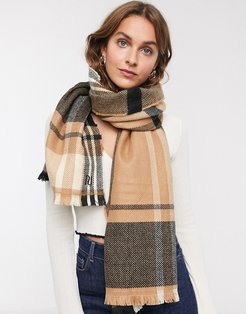 check printed scarf in beige
