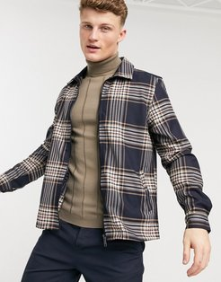 checked overshirt in navy