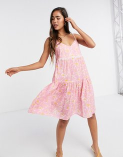 floral cami smock mini dress in pink-Green