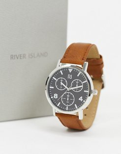 mens chrono leather watch in brown