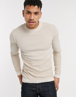 mixed stitch sweater in stone-Neutral
