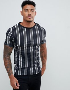 muscle fit crew neck t-shirt with stripes in black