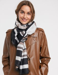 oversized scarf with stripe in beige