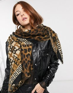 scarf in check and monnogram-Brown