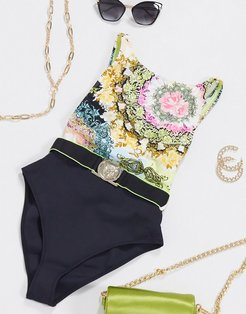 scarf print high neck swimsuit in yellow