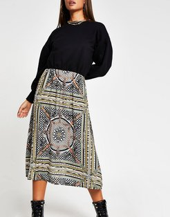 scarf print midi dress with sweater overlay in beige