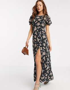 short sleeve chiffon floral maxi dress in black
