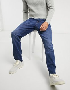 straight jeans in mid blue