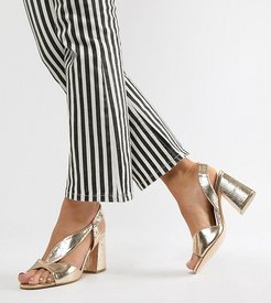 Wide Fit block heeled sandals in gold