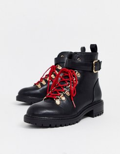 lace up hiking boots-Black