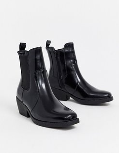 square toe western boots-Black