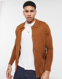 boxy cardigan with patch pocket-Brown