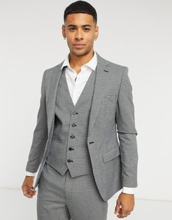 checked skinny fit suit jacket in gray