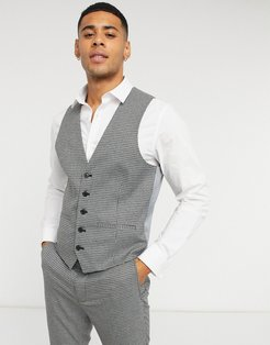 checked skinny fit suit suit vest-Gray