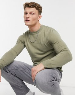 fitted crew neck sweater-Green