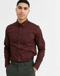 long sleeve oxford shirt-Red