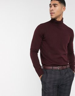 roll neck sweater-Red
