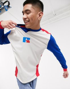 Rufus long sleeve cut & sew t-shirt in white and blue
