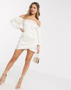 bardot wrap mini dress with puff sleeve in white leopard