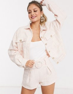 boucle gold button trucker jacket in pink fleck