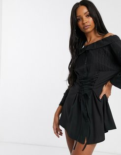 corset front oversized shirt dress in black