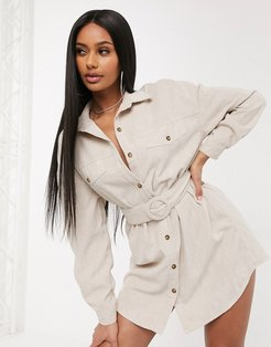 oversized belted trucker shirt dress in stone-Neutral