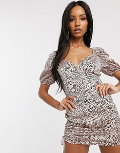 ruched side mini dress with puff sleeves in polka dot-Multi