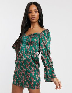 sweetheart neck corset mini dress with puff sleeves in multi floral