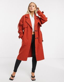 trench coat in rust-Red