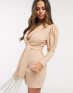 tux mini dress with ruched sleeve detail in stone-Beige