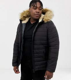 Rocky 2 hooded puffer bomber with detachable faux fur trim in black