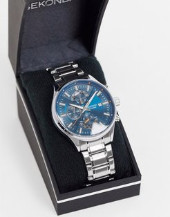 bracelet watch in silver with blue dial