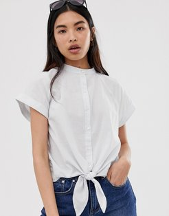 Femme boxy chambray tie front shirt-Multi