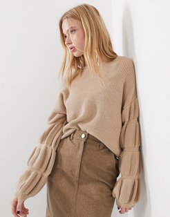 Femme knitted sweater with sleeve detail in camel-Brown