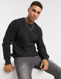 cable sweater in gray-Grey