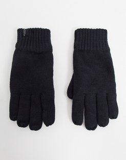 knitted gloves in black