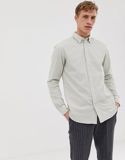 regular fit brushed cotton shirt-Beige