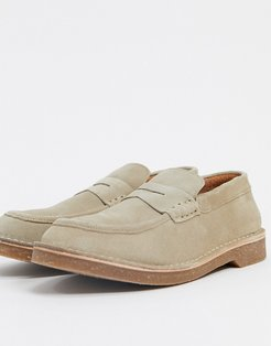 suede loafer in stone-Neutral