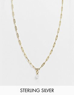 sterling silver gold plated oval link neckchain with pearl pendant