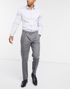 tapered cropped pant in light gray wool with single pleat and chain-Grey