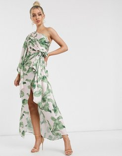 caspian tropical leaf one shoulder maxi dress in tropical-Multi