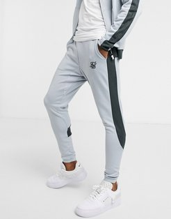 athlete eyelet tape sweatpants in gray