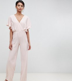 wrap cape sleeve jumpsuit in nude-Pink