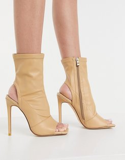 Simmi London open toe sock boots with woven insole in beige
