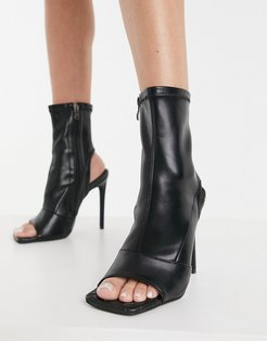 Simmi London open toe sock boots with woven insole in black