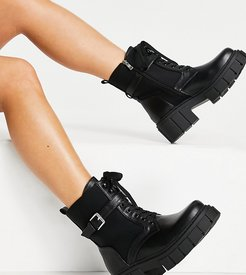 Simmi London Wide Fit Kai chunky lace up boots with buckles in black