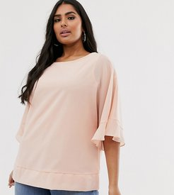 blouse with angel sleeve in blush-Pink