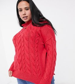 cable high neck sweater in pink