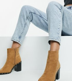 extra wide fit block heel ankle boots in tan-Brown